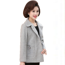 WAEOLSA Middle Aged Womens Peacoat Purple Gray Short Coat Mature Woman Woollen Blends Jackets Turn Down Collar Coats Outfits 4XL(China)
