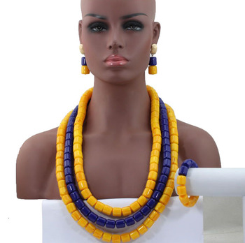 Exclusive Yellow Mix Blue African Fashion Beads Necklace Set Acrylic Beaded Women Jewelry Set Long Neck Free Shipping  HX767