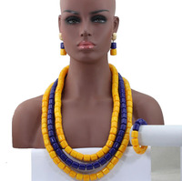Exclusive Yellow Mix Blue African Fashion Beads Necklace Set Acrylic Beaded Women Jewelry Set Long Neck Free Shipping HX767