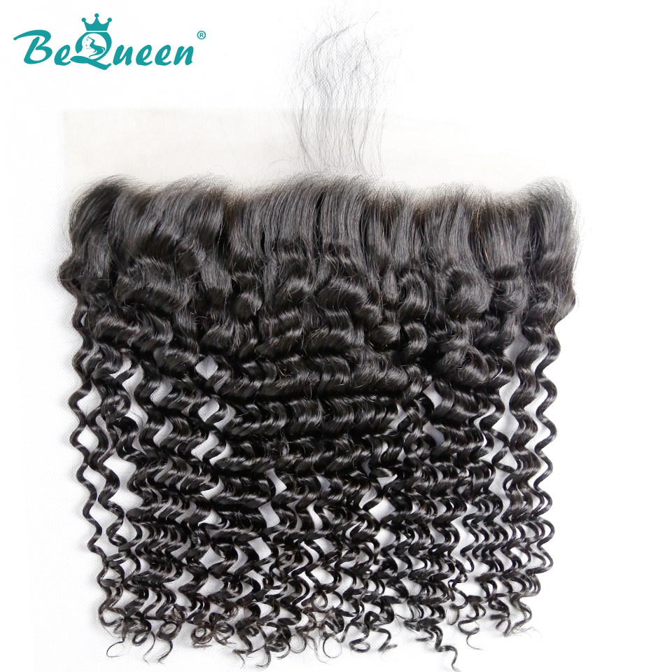 Bequeen Transparent Lace Deep Wave Peruvian Virgin Hair Lace Frontal Size 13 4 PrePlucked Natural Hairline
