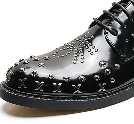 Luxe Rétro 2018 Robe Mariage Métal Bal Abeilles Chaussures Mâle De Designer Sapato Zapatos 01 Sociale Hommes Rivet Richelieus En 5AR3L4j