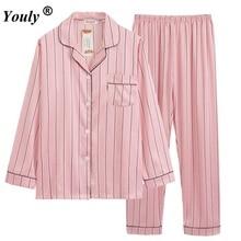 Pink Striped Satin Long Pajama Set 2019 V Neck Turn down Collar Long Sleeve Pajama Set