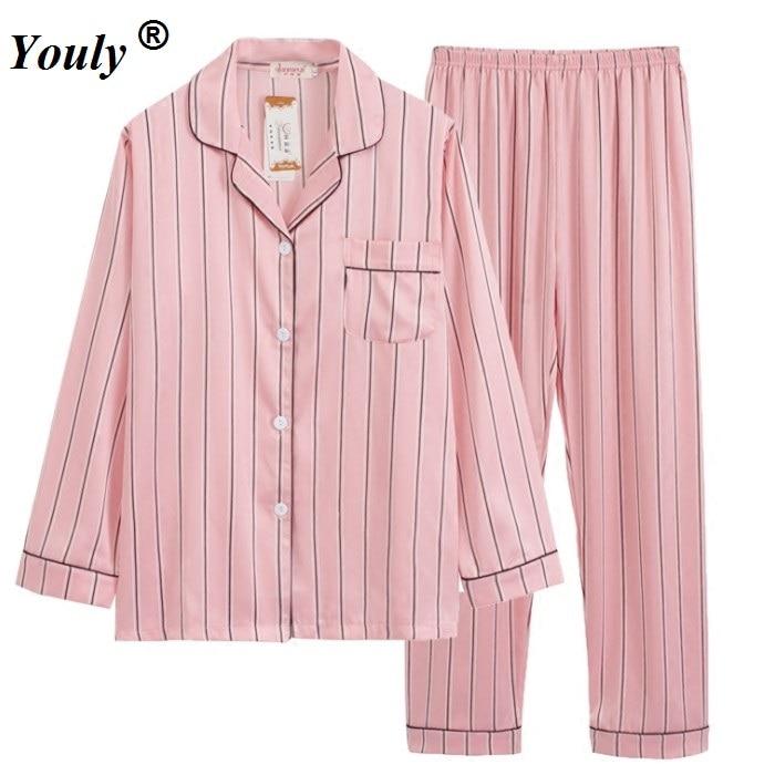 Pink Striped Satin Long   Pajama     Set   2019 V Neck Turn-down Collar Long Sleeve   Pajama     Set   Women Elegant Autumn Nightwear homewear