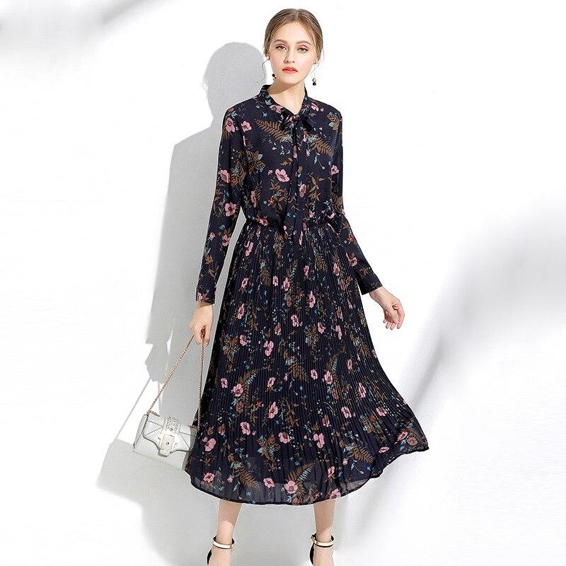 2017Autumn Fashion ladies long chiffon Dress Floral Printed Elegant one piece Dress bow collar casual longos