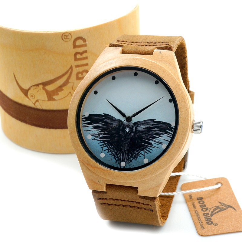 ФОТО 2017 BOBO BIRD Maple Watch Japan Movement Quartz Men Wooden Watch With Geese Dial Casual Clock for Men in Gift Box
