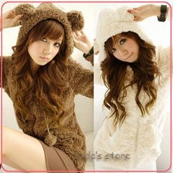 2012  fashion winter thick fluffy cute bear jacket  warm casual jacket  wholesale A03132