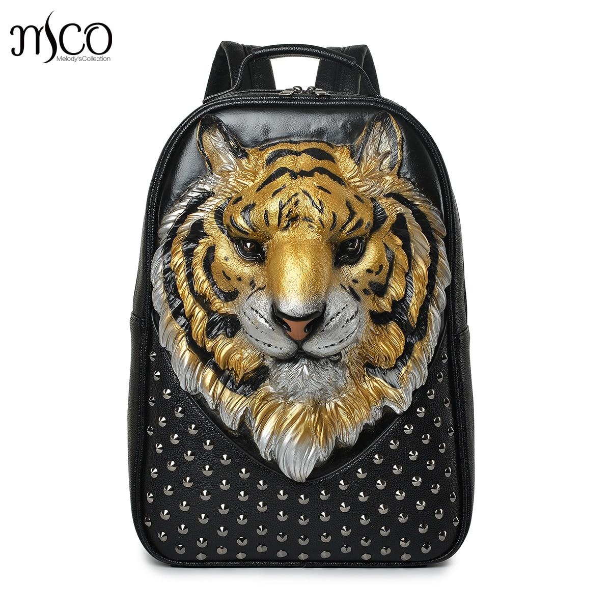 Men Backpack 3D Emboss Tiger Head Studded Rivet Gother Women Leather Soft Travel punk rock Backpack