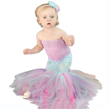 Sea Princess Ariel Dress Patchwork Polyester Top Tulle Tutu Fishtail Toddler Girl Kids Baby Little Mermaid Clothes