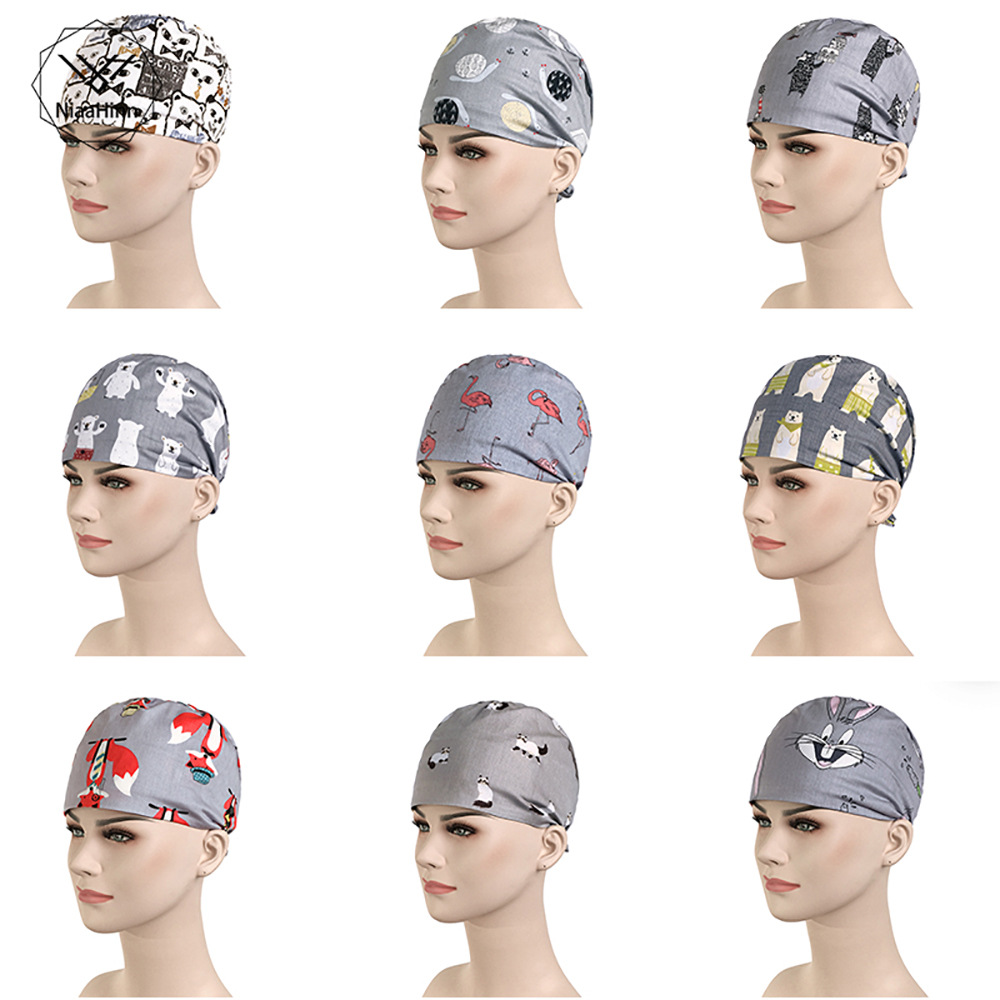 New Cotton Scrub Caps Pet Hospital Beauty Salon Women And Men Medical Hats Cattoon Print Tieback Elastic Section Surgical Caps