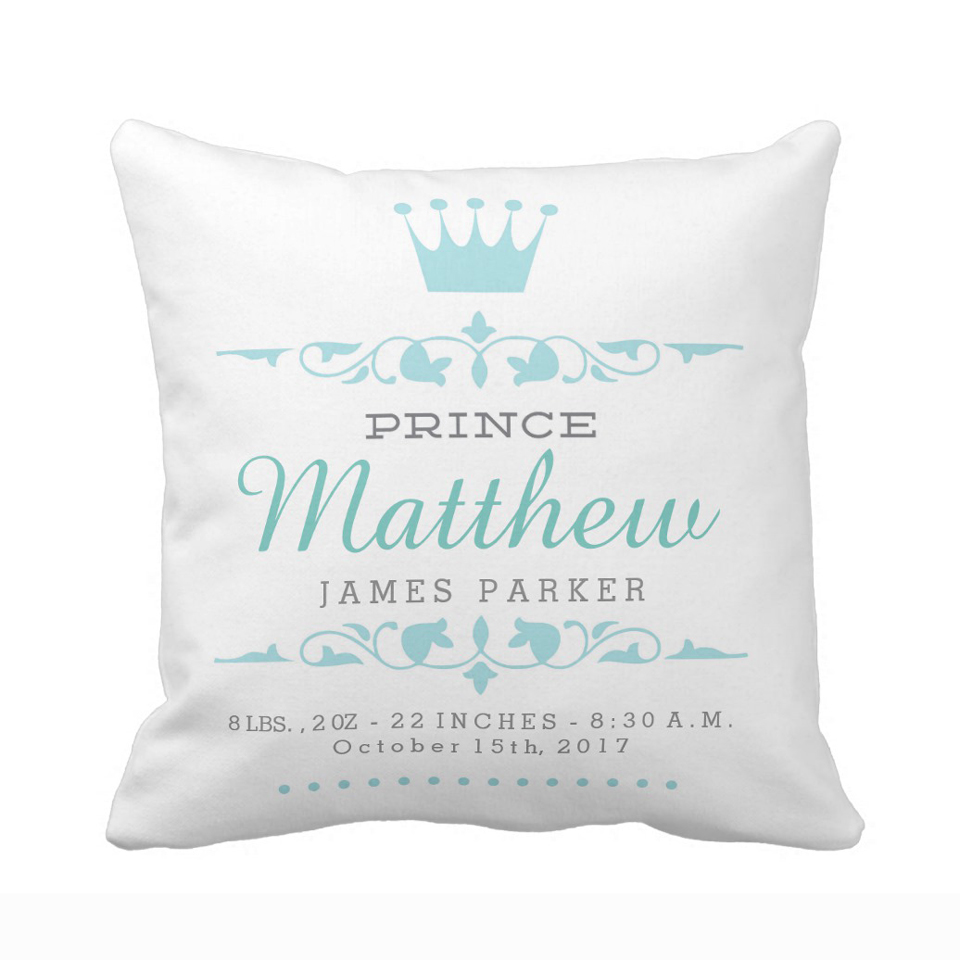 Prince /'Your Name/' and Princess /'Your Name/' cushion cover nursery newborn child