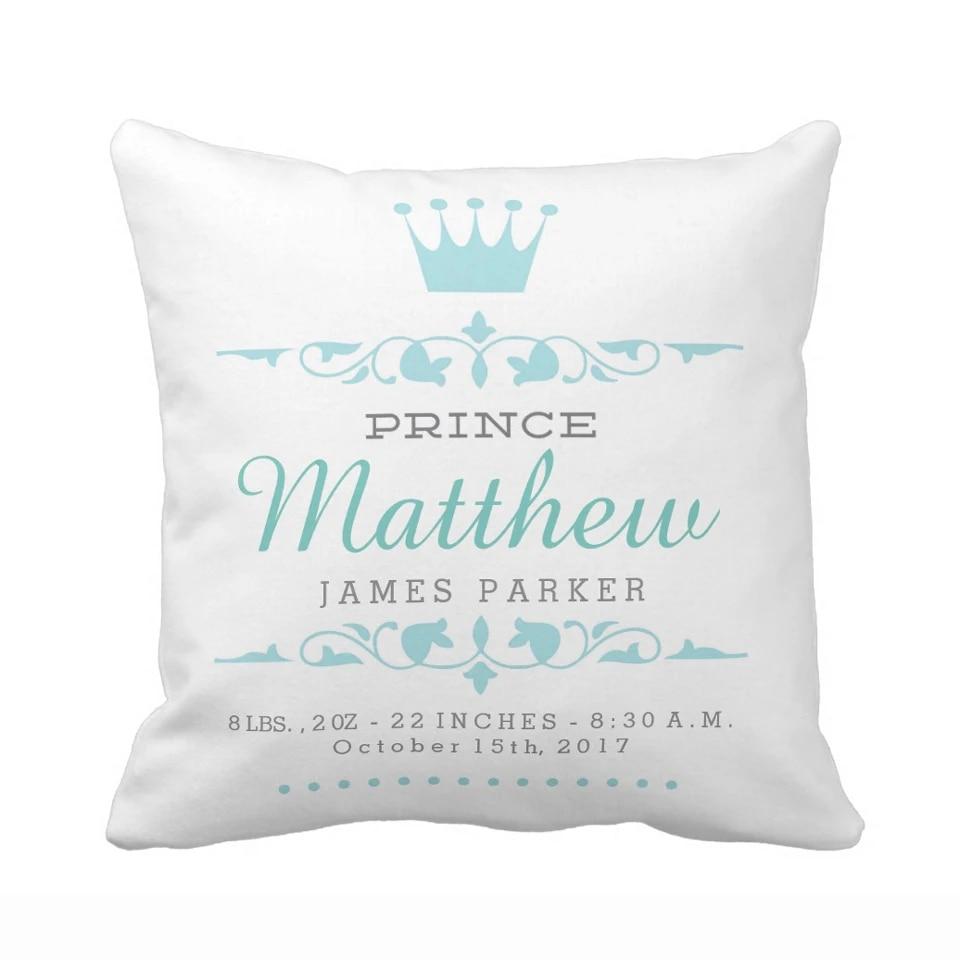 custom prince princess pillow case newborn baby pillow cover polyester decorative handmade boy girl cushion cover for kids