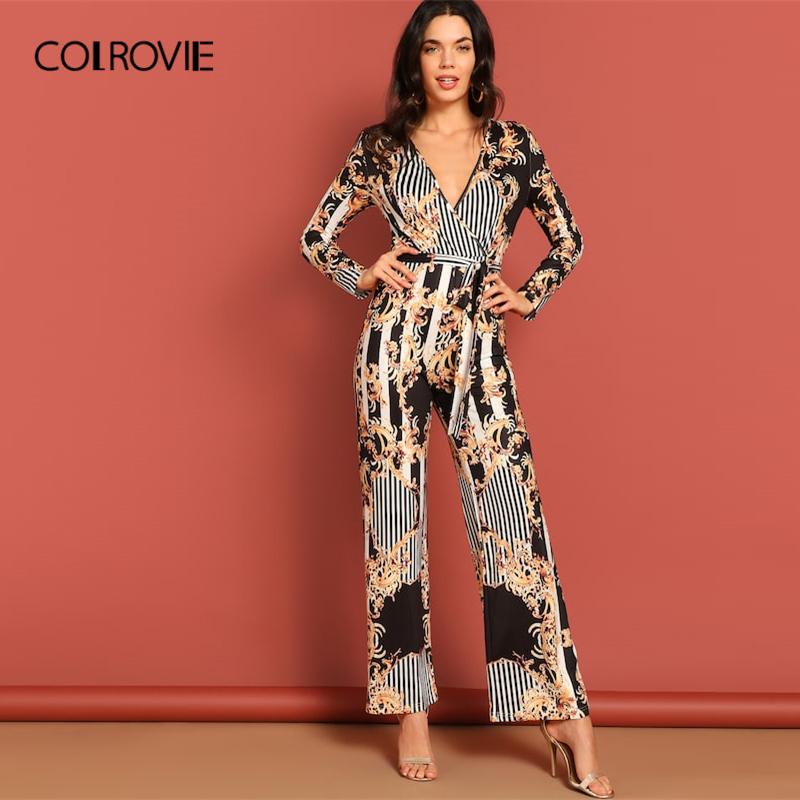 COLROVIE Floral Striped Belted Palazzo Party   Jumpsuit   Romper Women 2019 Long Sleeve High Waist Combinaison Elegant   Jumpsuits