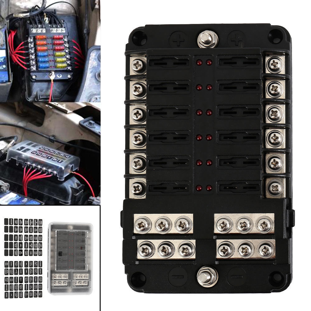 12 way 24 fuse box circuit standard blade block holder car. Black Bedroom Furniture Sets. Home Design Ideas