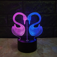 2019 new swan 3D visual night light creative colorful touch charging LED stereo light birthday gift lamp