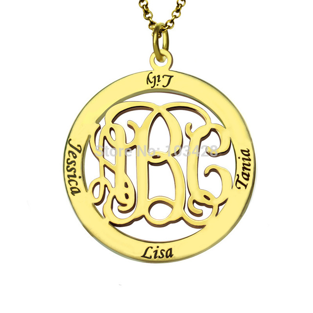 Personalized kids name pendant gold color monogram family name personalized kids name pendant gold color monogram family name necklace custom circle monogram mother necklace aloadofball Images