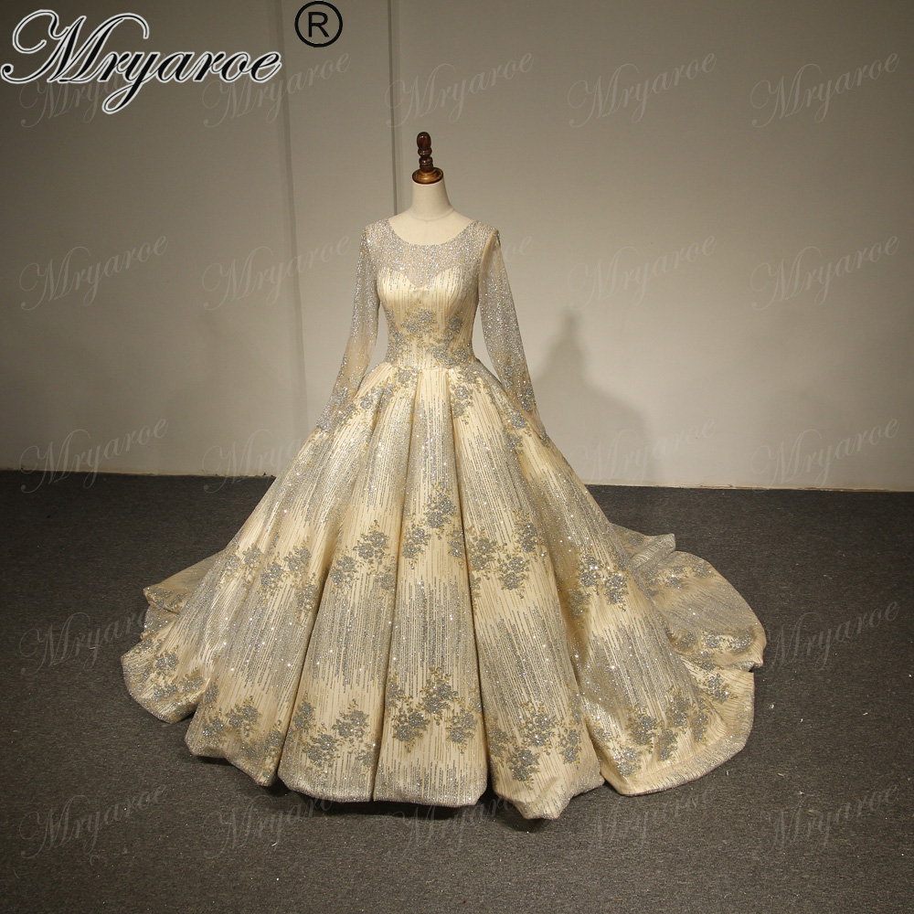 Mryarce Luxury Gold Wedding Dresses 2018 Sparkling Long Sleeve Ball ...