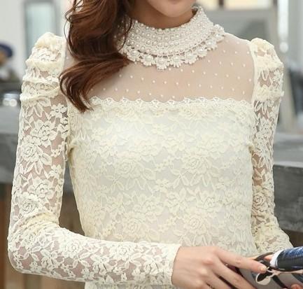 De Las nuevas Mujeres Camisas Soporte Del Resorte Del Collar de la Perla de Enca