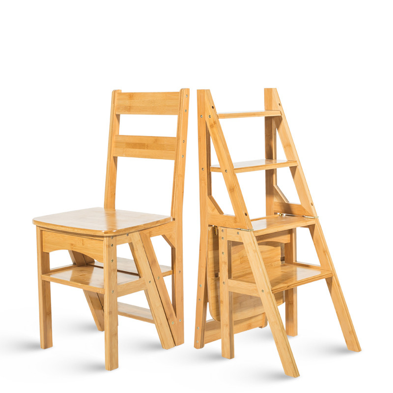 Natural Bamboo Multi Functional Four Step Library Ladder