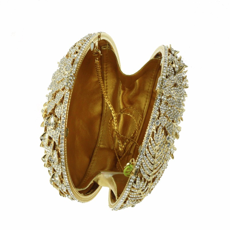 round crystal clutch bag golden3