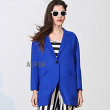 Autumn Women Wool Coat Suit Collar Royal Blue Solid Colour Fashion Thin Soft Outwear with Pockets Three Quater Sleeves AU00553