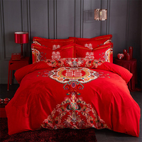 Luxury oriental wedding Bedding sets Red Royal Bedclothes Queen KIng size Bed set Duvet cover Bedspread