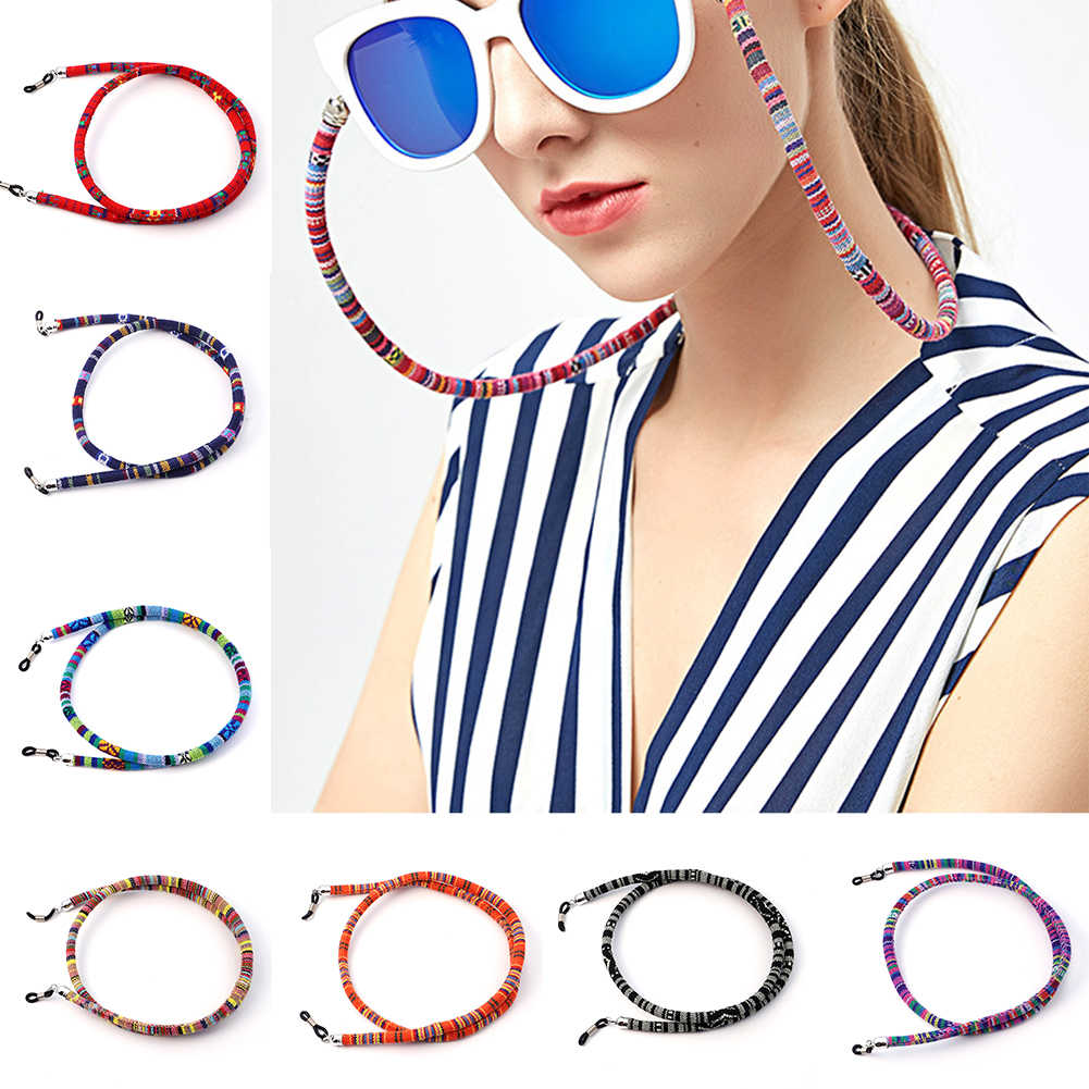 Óculos de sol estilo étnico, óculos de algodão, corda retentora, alça, suporte para quintal, corrente de óculos étnicos de ponta alta