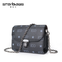 Starbags 2017 Fashion Designer Ladies Chain Bags Brand Print Small Flap Pu Leather Messenger Bags Women