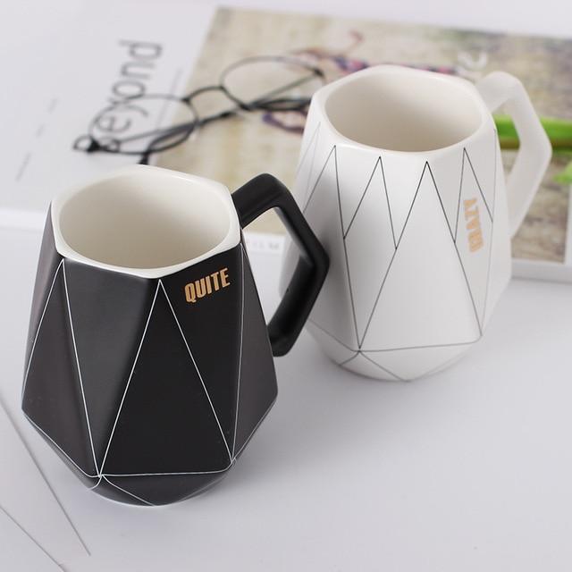 b4a30917195 Creative Polygonal Ceramic coffee mug Office Coffee Milk protein cups and mugs  travel cool mugs a