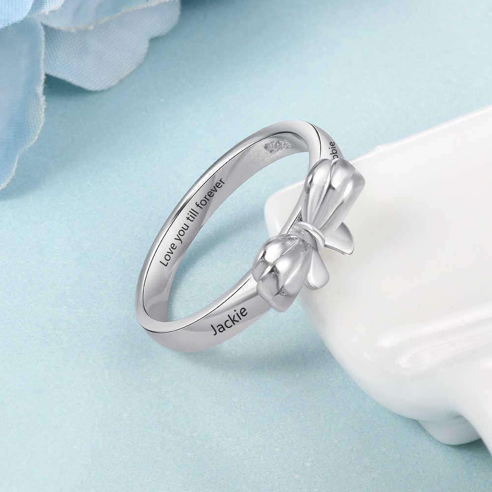 Кольцо с бантом для женщин, персонализированное именное кольцо на заказ, кольцо с бантом, выгравированное 2 имени, романтическое ювелирное изделие, подарок для девочек (Lam Hub Fong)