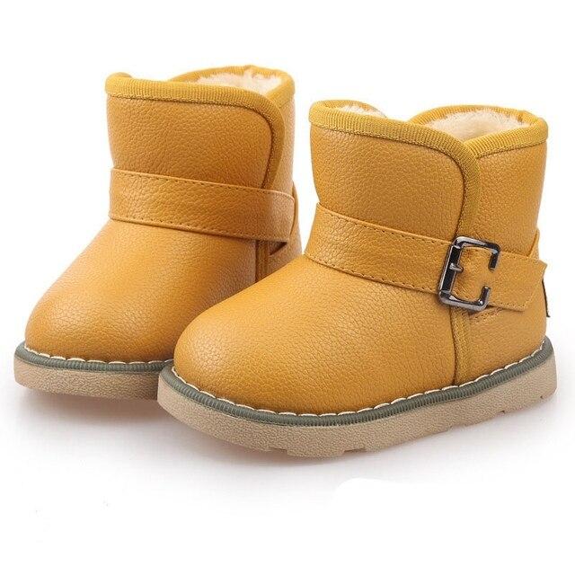 Теплая Зима Плюшевые Дети Дети Утолщаются PU Загрузки Обувь Мальчиков Девочек, Детские Кроссовки Пряжки Снегоступы малыша Crianças Sapatos S3948