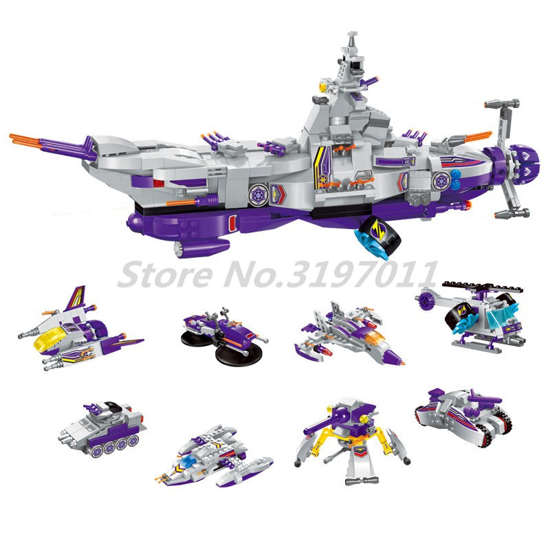 Space War Building Blocks Aircraft Bricks Carrier Ship Tank 8 in 1 Sets Enlighten 1402 Model Educational Toys For Children