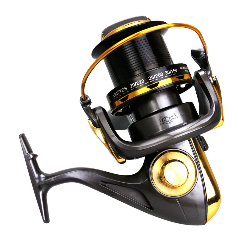 11000 Series 12+1BB 4.6:1 Fishing Reel Casting Big Sea Spinning Wheel Max Drag 25KG / 55LB with Full Metal CNC Rocker Arm-in Fishing Reels from Sports & Entertainment    3