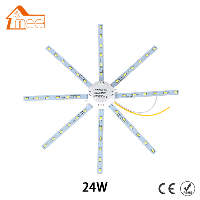 24W LED Ceiling Lamp Modified Light Source Lamp Plate Octopus 5730SMD White for Round Kitchen Bedroom chandelier ceiling plate vintage metal ceiling plate diy lighting accessories light base round rectangle colour black white