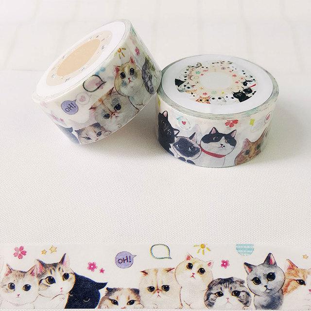 2 cm * 7 m washi tape etiqueta do gato kawaii papelaria planejador de scrapbooking fita adesiva escritório fita adesiva etiqueta DIY fita decoração