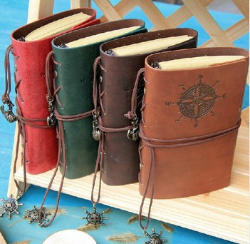 4 colors 2014 Vintage Leather Journal Notebook Classic Retro Spiral Ring Binder Diary Book Creative Gift Free shipping classic notebook vintage