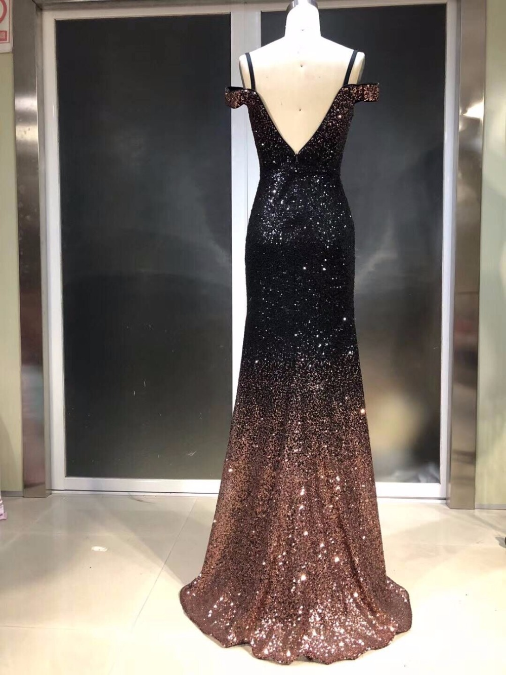 Summer Sexy Mermaid Prom Dresses Short Sleeve design Evening Dress Sequins New Design Amazing Party gown beading Evening gown - 6