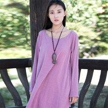 Retro Art Nightgowns Women Autumn Nightwear Long-sleeved Cotton Linen Nightgown Loose Long Nightdress Sleepshirts