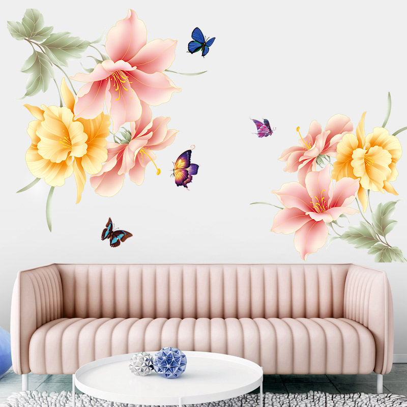 New 5D wall sticker HD Warm flowers PVC removable waterproof DIY stickers TV backdrop decorative painting creative wallpaper in Wall Stickers from Home Garden