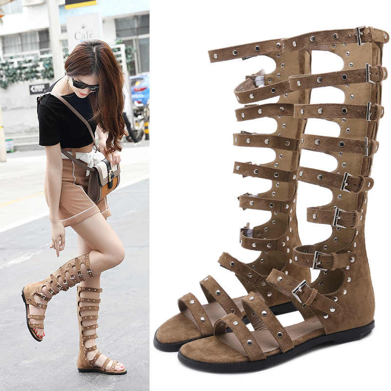 219fe449889 Fashion Metal Chain Gladiator Sandals Woman Flat With Summer Shoes Buckle  Frework Boots 3758