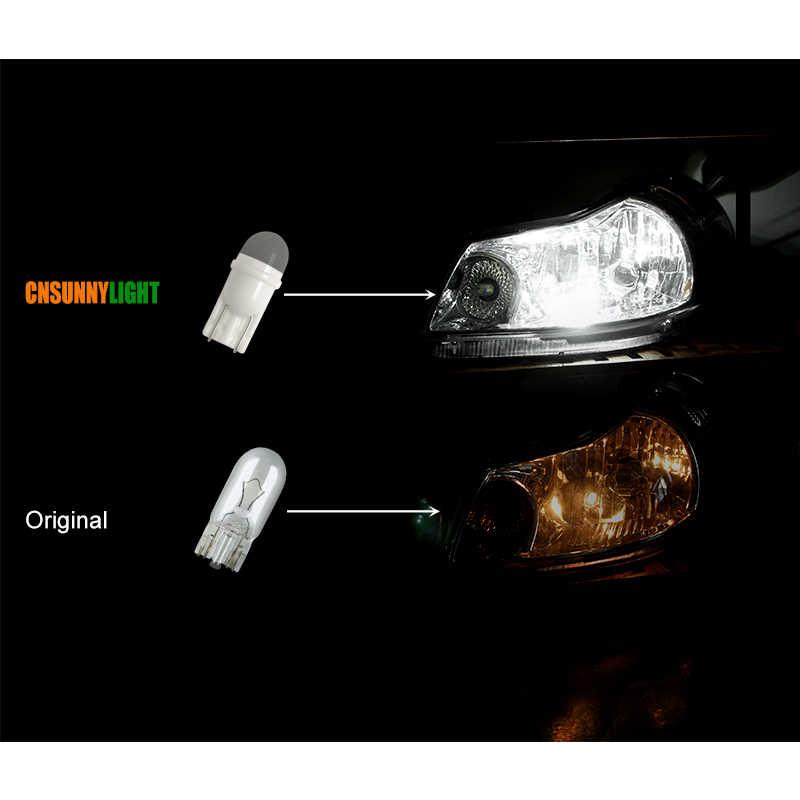 Nueva Base cerámica CNSUNNYLIGHT T10 W5W LED luz Interior del coche marcador 12V cuña estacionamiento bombillas de domo Mini tamaño blanco 6000K