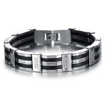 Fashion Casual Stainless Steel Wide Charm Bracelet with Genuine Silicone Design High Quality Titanium Steel Men Jewelry PH850