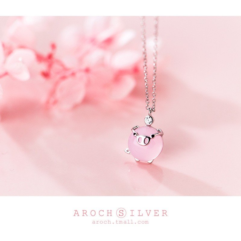 S925 silver necklace female Japanese and Korean small fresh synthetic opal piglet life life zodiac clavicle chain gift in Pendant Necklaces from Jewelry Accessories