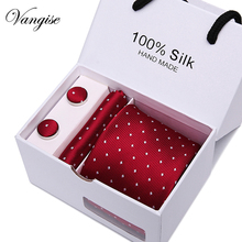 Vangise  Brand Men Ties Solid red Necktie Sets Cufflinks Hankies with Gift Box Packing for christmas Valentines Day gift