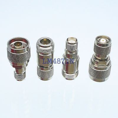 Kit Adapter 4pcs/set N to RP.TNC type male female RF connector Test converter rf adapter n type n male plug to 2 n female 3 way t type long version connector