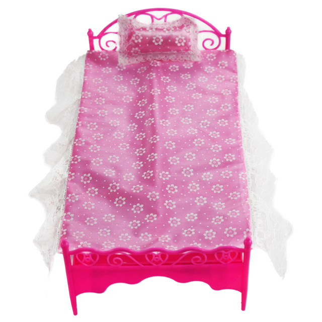 1 Pak Plastic Bed (Roze Bed + Kussen + lakens) Slaapkamer Meubels ...