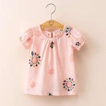 girls summer T Shirts embroidery baby unlined upper garment short sleeve T shirt girl jacket jumper shirt Puff sleeve princess-in Tees from Mother & Kids