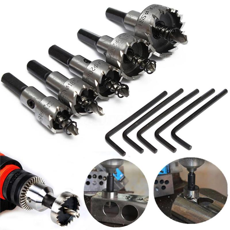 5pcs/lot HSS Drill Bit Hole Saw Sets Stainless Steel  Metal Wood Drilling Hole Cut Tool Saw Set 16mm 18.5mm 20mm 25mm 30mm 50pcs set twist drill bit set saw set 1 1 5 2 2 5 3mm hss high steel titanium coated woodworking wood tool drilling for metal