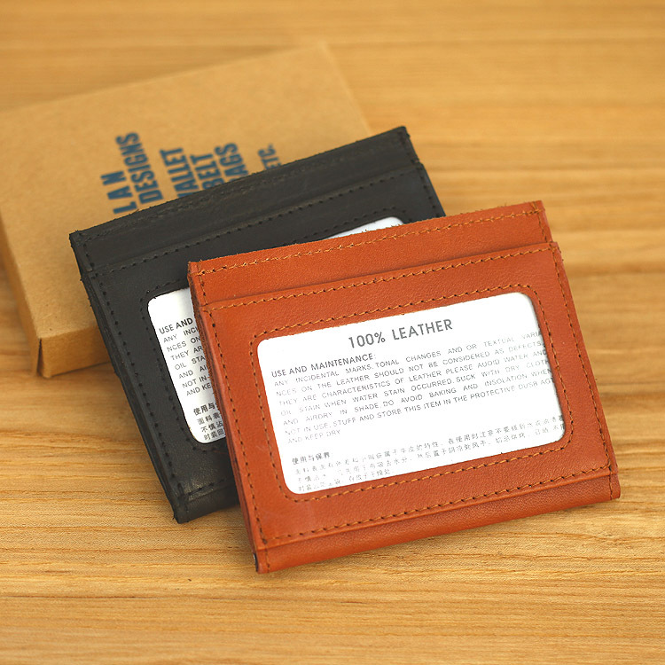 LAN men/'s leather name card case business card holder ultra thin card holder