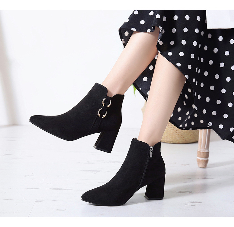 2019 Spring Autumn Women Boots New Fashion Casual Ladies Flock Short Boots Female Middle Heeled Boots M8D261 (29)