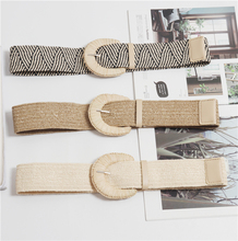 New Vintage Knitted Wax Rope Wooden Bead Waist Women Smooth Buckle Belt Woman Woven Female Hand-Beaded Braided BZ86